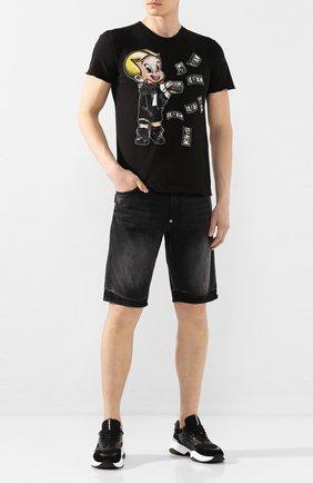 Мужская хлопковая футболка DOM REBEL черного цвета, арт. BALLER/T-SHIRT | Фото 2