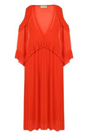 Однотонное платье-миди с V-образным вырезом и открытыми плечами By Malene Birger коралловое   Фото №1