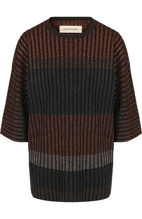Пуловер с укороченным рукавом и металлизированной нитью By Malene Birger разноцветный   Фото №1