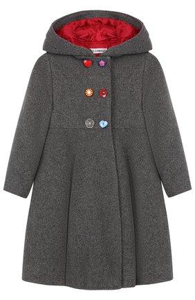 Двубортное пальто из шерсти с капюшоном | Фото №1