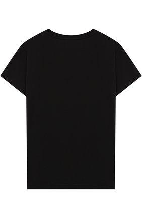 Детская хлопковая футболка с металлизированным принтом Young Versace черного цвета   Фото №1