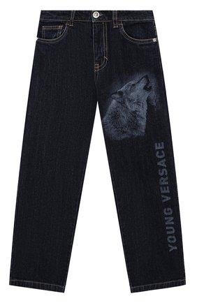 Детские джинсы прямого кроя с принтом Young Versace синего цвета | Фото №1