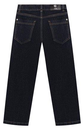 Детские джинсы прямого кроя с принтом Young Versace синего цвета   Фото №1