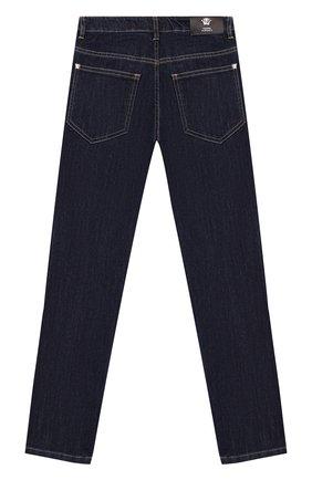 Детские джинсы с контрастной прострочкой Young Versace синего цвета   Фото №1