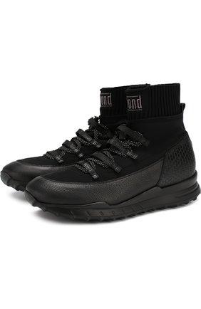 Комбинированные кроссовки на шнуровке с внутренней отделкой из меха | Фото №1