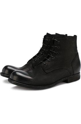 Кожаные ботинки на шнуровке Officine Creative черные   Фото №1