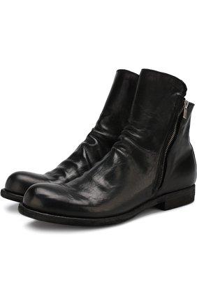 Высокие кожаные ботинки на молнии Officine Creative черные   Фото №1