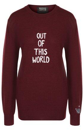 Шерстяной пуловер с круглым вырезом и надписью Markus Lupfer бордовый | Фото №1