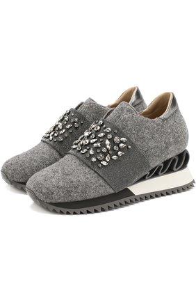 Текстильные кроссовки на платформе  Le Silla темно-серые | Фото №1