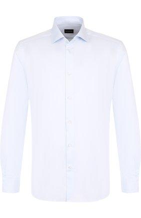 Мужская хлопковая сорочка с воротником кент ERMENEGILDO ZEGNA голубого цвета, арт. 404081/9HS0MT | Фото 1