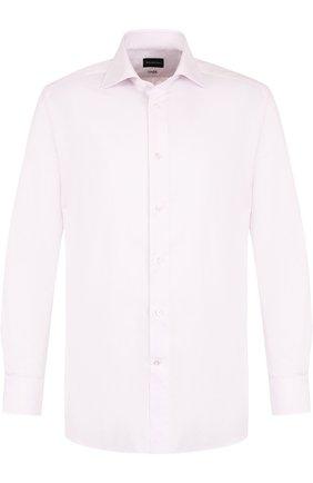 Хлопковая сорочка с воротником кент Ermenegildo Zegna светло-розовая | Фото №1