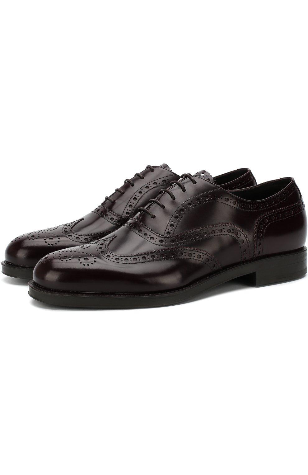 Мужские кожаные оксфорды GIORGIO ARMANI бордового цвета, арт. X2C590/XF294 | Фото 1 (Мужское Кросс-КТ: Броги-обувь; Материал внутренний: Натуральная кожа; Стили: Классический; Статус проверки: Проверено, Проверена категория)