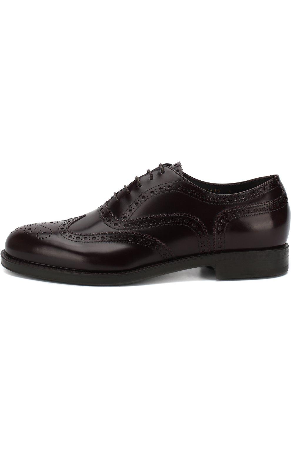 Мужские кожаные оксфорды GIORGIO ARMANI бордового цвета, арт. X2C590/XF294 | Фото 3 (Мужское Кросс-КТ: Броги-обувь; Материал внутренний: Натуральная кожа; Стили: Классический; Статус проверки: Проверено, Проверена категория)