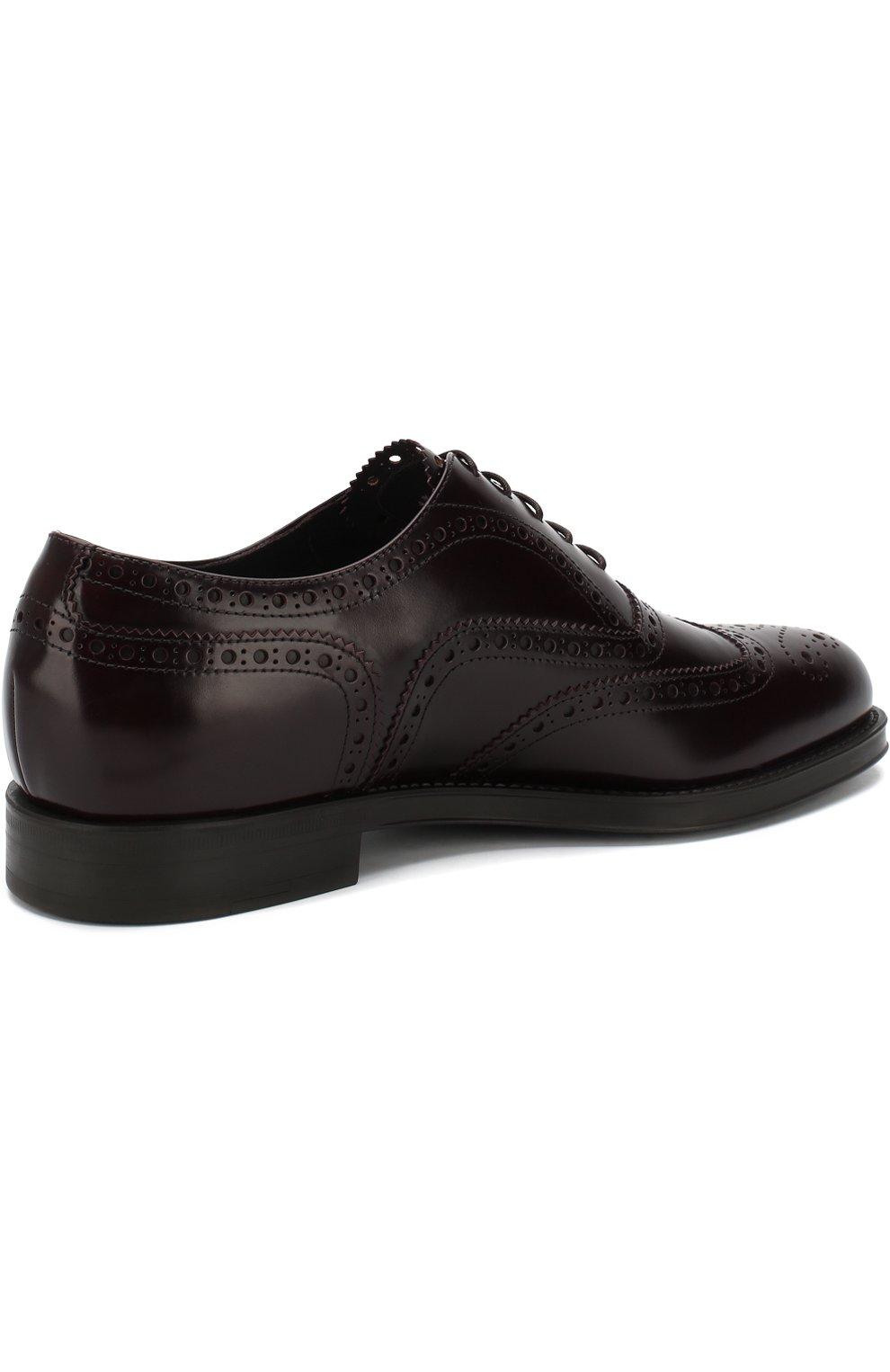 Мужские кожаные оксфорды GIORGIO ARMANI бордового цвета, арт. X2C590/XF294 | Фото 4 (Мужское Кросс-КТ: Броги-обувь; Материал внутренний: Натуральная кожа; Стили: Классический; Статус проверки: Проверено, Проверена категория)