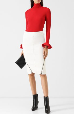 Шерстяная юбка-карандаш с металлическими молниями | Фото №2