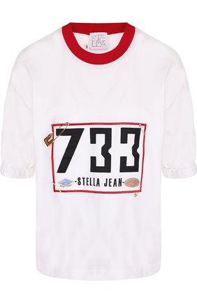 Хлопковая футболка с круглым вырезом и принтом Stella Jean белая | Фото №1