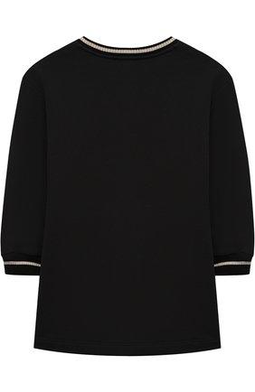 Детское хлопковое мини-платье со стразами Young Versace черного цвета | Фото №1