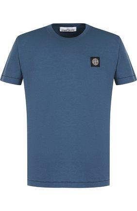 Хлопковая футболка с круглым вырезом Stone Island синяя | Фото №1