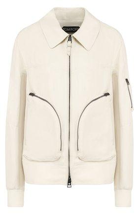 Женская куртка с отложным воротником из смеси вискозы и льна TOM FORD белого цвета, арт. CS0978-FAX330 | Фото 1