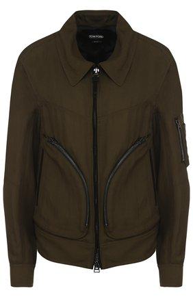 Куртка с отложным воротником из смеси вискозы и льна | Фото №1