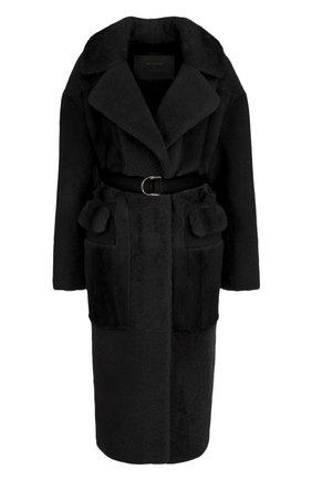 Меховое пальто с поясом | Фото №1