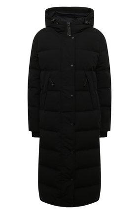 Стеганое пуховое пальто с капюшоном   Фото №1