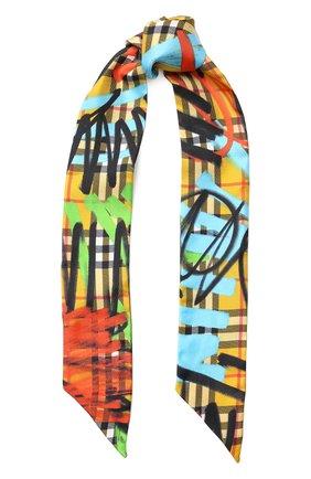 Шелковый шарф-бандо с принтом   Фото №1
