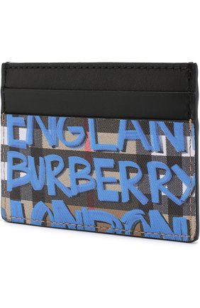 Кожаный футляр для кредитных карт в клетку Vintage Check с принтом Graffiti  | Фото №2