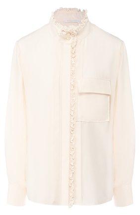 Женская шелковая блуза с накладным карманом и воротником-стойкой CHLOÉ кремвого цвета, арт. CHC18AHT12011 | Фото 1