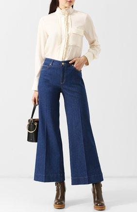 Женская шелковая блуза с накладным карманом и воротником-стойкой CHLOÉ кремвого цвета, арт. CHC18AHT12011 | Фото 2