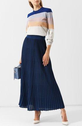 Пуловер из смеси шерсти и вискозы в полоску Bottega Veneta синий | Фото №1