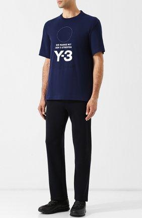 Хлопковая футболка с круглым вырезом Y-3 темно-синяя | Фото №1