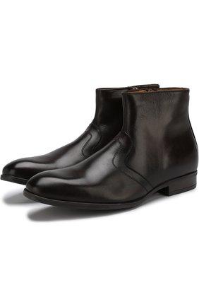 Высокие кожаные ботинки с внутренней меховой отделкой A. Testoni коричневые | Фото №1
