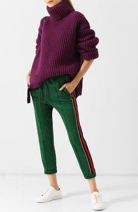 Укороченные брюки с эластичным поясом и контрастными лампасами