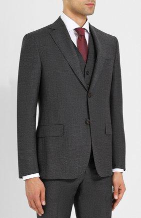 Шерстяной костюм с пиджаком на двух пуговицах Pal Zileri темно-серый | Фото №1