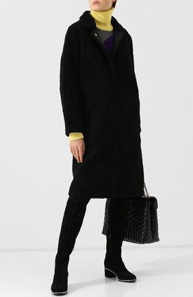 Замшевые ботфорты с внутренней меховой отделкой Le Silla черные | Фото №1