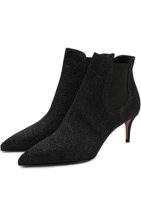 Текстильные ботильоны с люрексом на каблуке kitten heel Le Silla черные | Фото №1