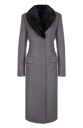 Кашемировое пальто с меховым воротником Colombo серого цвета | Фото №1