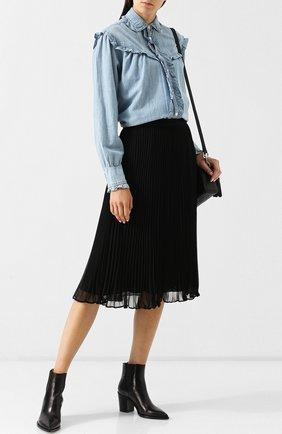 Женская хлопковая блуза с оборками Polo Ralph Lauren, цвет голубой, арт. 211704811 в ЦУМ | Фото №1