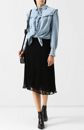 Однотонная плиссированная юбка-миди Polo Ralph Lauren черная | Фото №1