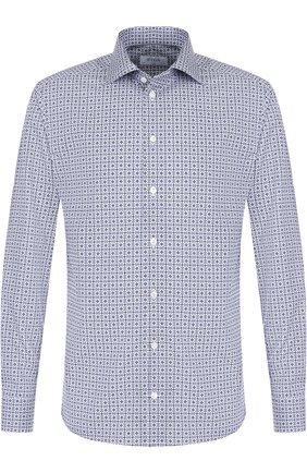 Хлопковая сорочка с воротником кент Eton синяя | Фото №1