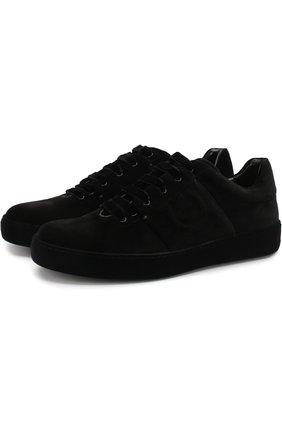 Текстильные кроссовки на шнуровке Salvatore Ferragamo черные | Фото №1