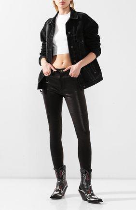 Женские кожаные брюки FRAME DENIM черного цвета, арт. LHSKL001 | Фото 2