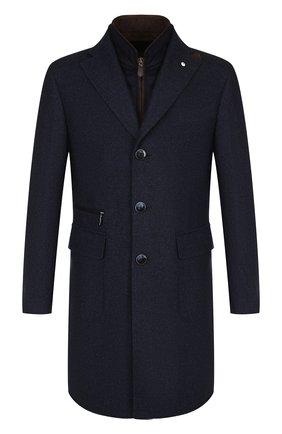 Однобортное шерстяное пальто с подстежкой L.B.M. 1911 темно-синего цвета | Фото №1