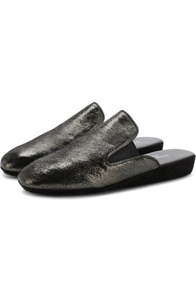 Домашние туфли из кожи Homers At Home темно-серые | Фото №1