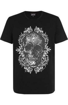 Хлопковая футболка с принтом Just Cavalli черная | Фото №1