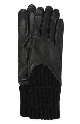 Кожаные перчатки с вязаными манжетами Agnelle черные | Фото №1