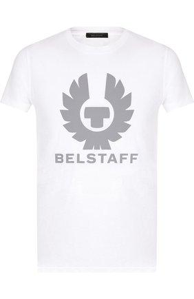 Хлопковая футболка с логотипом бренда Belstaff зеленая | Фото №1