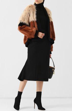 Укороченное меховое пальто Mate Official коричневая | Фото №1