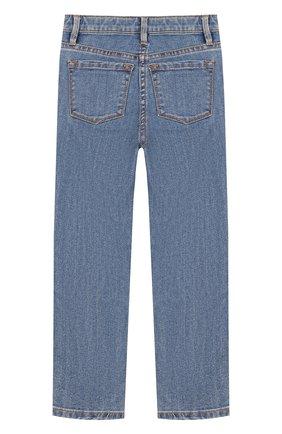 Детские джинсы прямого кроя с нашивками Juicy Couture голубого цвета | Фото №1